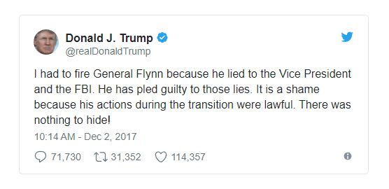 trump russian scandal tweet about obstruction