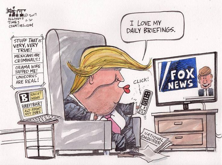 fox lies with trump cartoon
