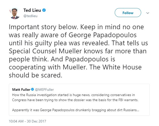 russian cases tweets from ted lieu